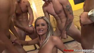 Blonde slut Amy Reid sucking a bunch of dicks
